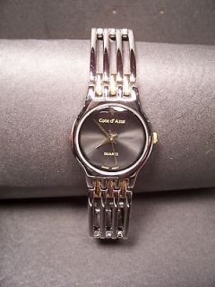 Cote d Azur Watch   Quartz   Silvertone & Goldtone Band   7/8 Face