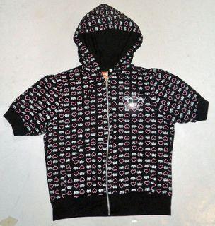 black + pink crowns + hearts hoodie   juniors XL   gal emo punk j rock