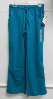 Katherine Heigl Teal Drawstring Brown Seam Flare Uniform Scrub Pants