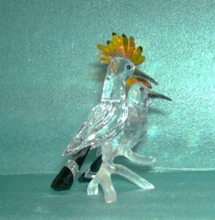 Swarovski Crystal Hoopoes Bird crystal double on perch figurine