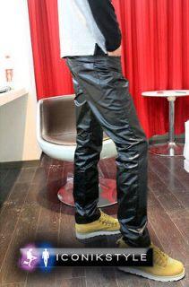 Mens Diesel & Petrol FuelWear d.G Black Shiny Leather Look Star Jeans