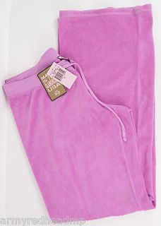NEW JUICY COUTURE BLISSFULL PINK ORIGINAL LEG VELOUR TRACK PANTS XL