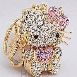 Hello Kitty Fashion Cat Rhinestone Crystal Charm Key Purse Bag Chain