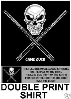 GAME OVER SKULL CROSSED CUE STICKS POOL BALL T SHIRT D