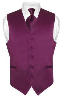 Mens EGGPLANT PURPLE Tie Dress Vest NeckTie Set for Suit or Tuxedo
