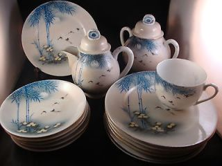 JAPANESE WHITE CRANE HAND PAINTED TEA CUP CREAMER PLATE SET OLD MARK