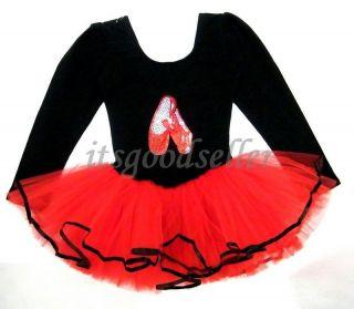 Girl Party Long Sleeve Leotard Ballet Tutu Dance Shoes Costume Dress 3