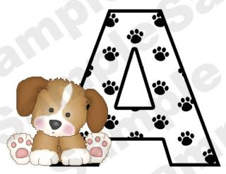 PUPPY DOG ALPHABET LETTER NAME PAW PRINTS BABY NURSERY KIDS WALL