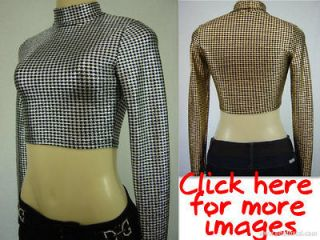 SEXY NEW FOIL ZIG ZAG/ PLAID/ CHECKERED PRINT LONG SLEEVE CROP TOP