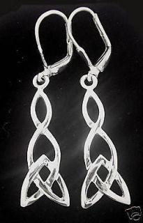 Sterling Silver Celtic Dangle Drop Earrings Irish Made jewellery knot
