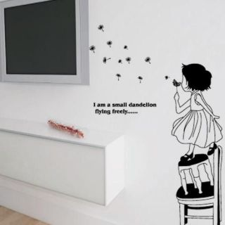 Dreaming Girl Blow Dandelion Wall Sticker Decals Decor Removable