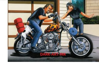 David Mann Art Down, Spot, Down Print Easyriders Harley Davidson Jack