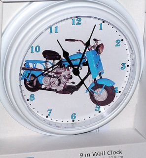 Classic Cushman 1957 Blue Eagle Scooter, Custom Motorcycle Wall Clock