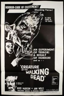 1965 Creature of The Walking Dead 1 Sheet (27x41) Original Movie
