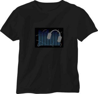 Sound Activated M DJ shape LED Light EL Music T Shirt Party dance SJ