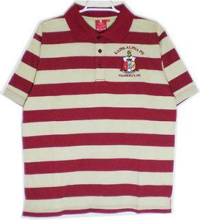 Kappa Alpha Psi Shield Crest Striped Polo Mens Tee