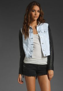 jean jacket leather sleeves in Clothing,