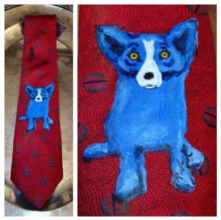George Rodrigue Oil On Neck Tie C 1989/90 Signed Blue Dog Rare History