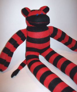 Devon the Sock Monkey Large Handmade Red Black stripes