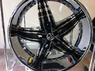 New 24 Inch Diablo Rage Wheels Chrome Black 24x10 rims