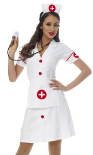 Womens White Nurse Dress Outfit Halloween Costume L