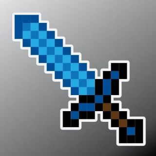1X 6 Diamond Minecraft Sword Contour Cut Vinyl Decal / Sticker for