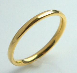 WEDDING BAND 2mm mens LADIES ring yellow 14K gold overlay size 11