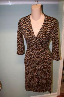 Diane von Furstenberg Vintage Julian Brown Print Wrap Silk Dress 4