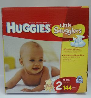 Huggies Little Snugglers Diapers, Size 2,144 Ct  With A Wetness