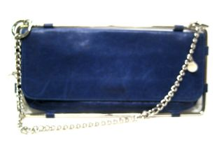 DIESEL Womens Small Handbag Purse Clutch Shoulder Bag BLUE Leather