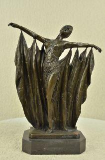 VINTAGE LARGE ART DECO DANCER DIMITRI CHIPARUS BRONZE SCULPTURE SIGNED