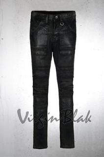 vb HOMME Mens Frayed Stitch Waxed Black Skinny Jeans 6JT