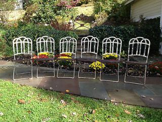 SET OF SIX FOLDING IRON GARDEN CHAIRS. GREAT PATINA TEAK WOOD SLATS