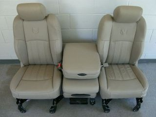 Dodge Ram tan leather front seats w/logo center console