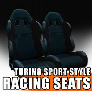 2x Universal Fit Black Fabric & PVC Leather Sport Racing Bucket Seats