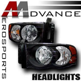 02 05 Dodge Ram 1500/2500/3500 Pickup JDM Blk Crystal Headlights+Amber