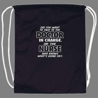 Funny Doctor Nurse Nursing Drawstring Backpack tote bag