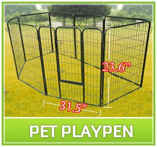 Duty Pet Dog Cat Exercise Pen Playpen Fence Yard Kennel Portable 23.6