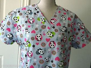 NEW Scrubs Top Cute Panda Gray XL X LARGE Medical Nursing