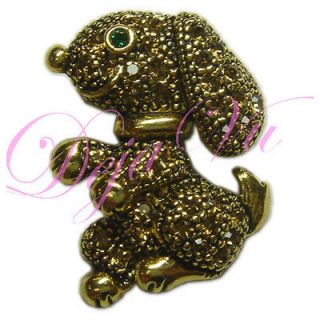 CRYSTAL ANTIQUE GOLD PLATED SNOOPY DOG BROOCH MADE WITH SWAROVSKI