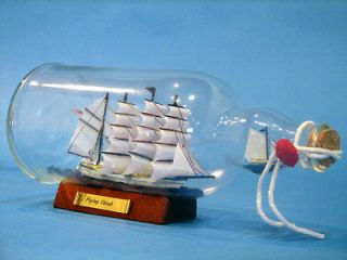 Blue Flying Cloud Ship In A Bottle 11 NEW Small Wooden Model Ship