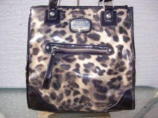 NEW Kathy Van Zeeland Brown Black Animal Print Leopard Tote Purse