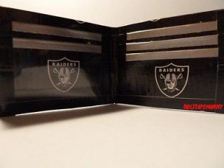 HANDMADE DUCT TAPE WALLET BLACK WITH OAKLAND RAIDERS LOGO ON IT