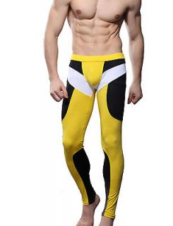 SEOBEAN Mens Low Rise Sexy Sport Underwear Pants Long John Yellow 2183