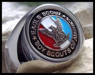 US SIZE 10   EAGLE SCOUT BOY SCOUTS BSA SURGICAL SILVER STEEL RING M3