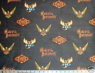 EAGLE Logo HARLEY DAVIDSON Black Quilt Fabric 30w x 19l blk