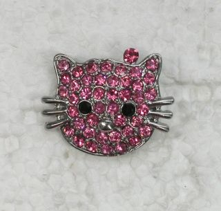 PINK RHINESTONE CRYSTAL HELLO KITTY CAT PIN BROOCH UU