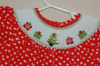 NEW Little Girls Christmas Smocked Dress NWT Red Polka Dot w Tree