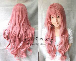 319 Fashion Smoke pink curly womens cosplay wig