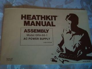 Heathkit Operator Assembly Manual Model~GRA 88 1​~AC Power Supply